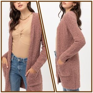 Cotton Candy Popcorn Soft Cozy Pocket Open Sweater